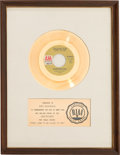 "Music Memorabilia:Awards, Carpenters ""(They Long to Be) Close to You"" RIAA White Mat GoldRecord Sales Award Presented to Burt Bacharach (A&M 1183,1970..."