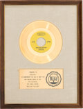 "Music Memorabilia:Awards, Donovan ""Mellow Yellow"" RIAA White Mat Gold Record Sales Award(Epic 5-10098, 1966)...."