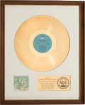 Music Memorabilia:Awards, Turtles' Golden Hits RIAA White Mat Gold Record Sales Award(White Whale 7115, 1967)....