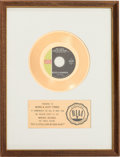 "Music Memorabilia:Awards, Jackie DeShannon ""Put a Little Love in Your Heart"" RIAA White MatGold Record Sales Award (Imperial 66385, 1969)...."