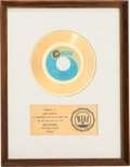 "Music Memorabilia:Awards, Osmonds ""Yo-Yo"" RIAA White Mat Gold Record Sales Award (MGMK-14296, 1971)...."