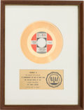 """Music Memorabilia:Awards, Music Explosion """"Little Bit O' Soul"""" RIAA White Mat Gold RecordSales Award Presented to the Artist (Laurie LR 3380, 1967)...."""