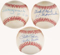 Autographs:Baseballs, Baseball Greats Single Signed Baseball Lot of 3 - Including Rose,O'Neil and Mazeroski. ...