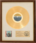 Music Memorabilia:Awards, Sonny & Cher Look at Us RIAA White Mat Gold Record SalesAward Presented to the Artists (ATCO 33-177, 1965)....