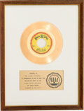"Music Memorabilia:Awards, Lovin' Spoonful ""Summer in the City"" RIAA White Mat Gold RecordSales Award (Kama Sutra KA211, 1966)...."