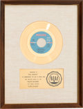 "Music Memorabilia:Awards, Paul Mauriat ""Love is Blue (L'Amour est Bleu)"" RIAA White Mat Gold Record Sales Award (Philips 40495, 1967)...."