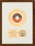 "Music Memorabilia:Awards, Rascals ""A Beautiful Morning"" RIAA White Mat Gold Record SalesAward (Atlantic 45-2493, 1967)...."