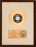 "Music Memorabilia:Awards, Al Green ""Let's Stay Together"" RIAA White Mat Gold Record SalesAward (Hi 45-2202, 1971)...."