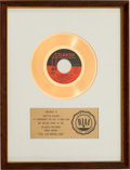 "Music Memorabilia:Awards, Roberta Flack ""Feel Like Makin' Love"" RIAA White Mat Gold RecordSales Award (Atlantic 45-3025, 1974)...."