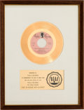 "Music Memorabilia:Awards, John Fred & His Playboy Band ""Judy in Disguise (With Glasses)""RIAA White Mat Gold Record Sales Award (Paula 282, 1967)...."