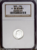 Proof Roosevelt Dimes: , 1953 10C PR68 White Cameo NGC. Sharply struck, with virtuallyunblemished surfaces. Speckles of barely discernible milky co...