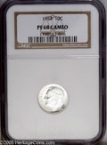Proof Roosevelt Dimes: , 1954 10C PR68 Cameo NGC. Splendidly struck with the maximum degreeof mint frost imaginable shining from the snow-white, dy...
