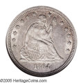 Seated Quarters: , 1864-S 25C AU58 NGC. In a series replete with rarities, the '64-Sstands out as one of the most difficult S-mint Seated Qua...