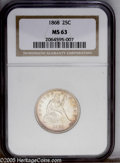 Seated Quarters: , 1868 25C MS63 NGC. Touches of lavender and gold visit lustroussurfaces. Nicely struck, with no significant marks and ample...