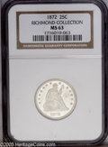 Seated Quarters: , 1872 25C MS63 NGC. Ex: Richmond Collection. Bright frosty surfacesare essentially untoned, and display sharply struck desi...