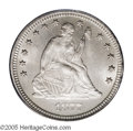 Seated Quarters: , 1877-S 25C Over Horizontal S MS64 PCGS. FS-007, Briggs 4-D.Silky-smooth, light silver surfaces grace this pleasing coin. T...