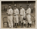 Baseball Collectibles:Photos, 1926 New York Yankees Infield with Lou Gehrig Original NewsPhotograph, PSA/DNA/Type 2. ...