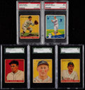 Baseball Cards:Lots, 1933 and 1934 Goudey Baseball Graded Collection (5)....