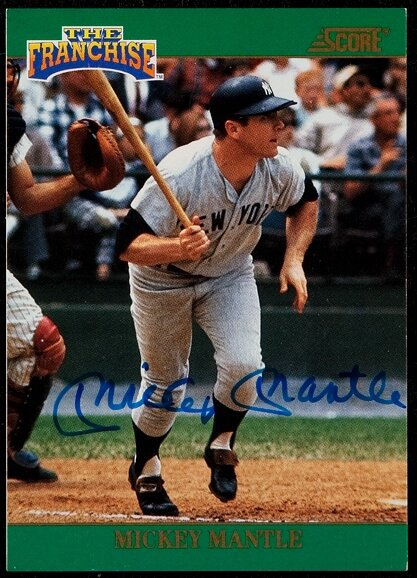 1992 Score The Franchise Mickey Mantle Autograph Card Lot 42120