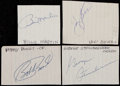 Autographs:Index Cards, New York Yankees Greats Cut Signature Quartet (4) With George Steinbrenner....