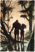 Original Comic Art:Covers, John Totleben Swamp Thing V2#64 Cover Study Painting and Rough Concept Preliminary Original Art Group of 2 (DC, 19... (Total: 2 Original Art)