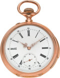 Timepieces:Pocket (pre 1900) , Swiss First Quality 18k Rose Gold Minute Repeater, circa 1885. ...