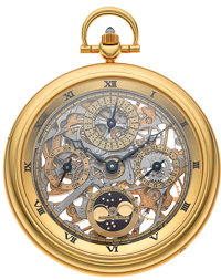 Audemars Piguet Exquisite Skeletonized Quantieme Perpetual Moonphase 18K Gold Pocket Watch, Ref. 25559BA, Circa 1982&...