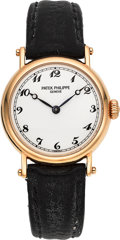 "Timepieces:Wristwatch, Patek Philippe Ref. 4860 Lady's Gold ""Officer"" Watch, circa 1990's...."
