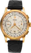 Timepieces:Pocket (post 1900), Zodiac 18k Gold Vintage Chronograph, circa 1945. ...