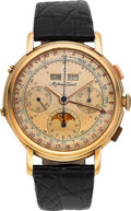 Timepieces:Wristwatch, Mathey-Tissot Very Fine Gold Valjoux 88 Chronograph With Calendar& Moon Phase, circa 1947. ...