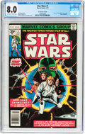 Bronze Age (1970-1979):Science Fiction, Star Wars #1 35 Cent Price Variant (Marvel, 1977) CGC VF 8.0 Off-white to white pages....