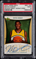 Basketball Cards:Singles (1980-Now), 2007 Upper Deck Rookie Debut Signatures Kevin Durant #RD-KD PSA Mint 9....