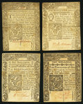Colonial Notes:Connecticut, CT - Lot of 4 Connecticut Colonial Currency Notes. . ... (Total: 4notes)