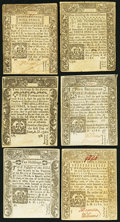 Colonial Notes:Connecticut, CT - Lot of 6 Connecticut June 1, 1780 Colonial Currency Notes..... (Total: 6 notes)