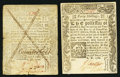 Colonial Notes:Connecticut, CT - Lot of 2 Connecticut June 1, 1780 40 Shillings Notes: Genuine and Counterfeit Comparison Pair.. ... (Total: 2 notes)