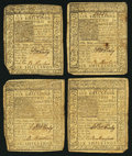 Colonial Notes:Delaware, DE - Lot of 4 Delaware January 1, 1776 6 Shillings Notes.. ...(Total: 4 notes)