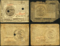 Colonial Notes:Continental Congress Issues, CC - Lot of 4 Continental Currency Notes from Various Resolutions..... (Total: 4 notes)