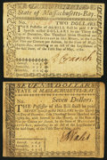 Colonial Notes:Massachusetts, MA - Lot of 2 State of Massachusetts May 5, 1780 Guaranteed by theUnited States Uncancelled Notes.. ... (Total: 2 notes)