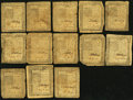 Colonial Notes:Delaware, DE - Lot of 13 Delaware January 1, 1776 Colonial Currency Notes..... (Total: 13 notes)