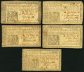 Colonial Notes:New Jersey, NJ - Lot of 5 New Jersey March 25, 1776 1 Shilling Notes.. ...(Total: 5 notes)