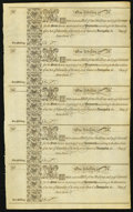 Colonial Notes:Maryland, MD - Uncut Sheet of Five Assembly of Maryland at Annapolis 1733 1Shilling Fr. MD-1 Remainder Notes.. ...