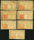 Colonial Notes:New Jersey, NJ - Lot of 7 New Jersey March 25, 1776 3 Shillings Notes. . ...(Total: 7 notes)