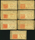 Colonial Notes:New Jersey, New Jersey March 25, 1776 3s Fine Seven Examples.. ... (Total: 7 notes)