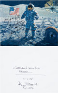 """Explorers:Space Exploration, Alan Bean and Gene Cernan Signed Color Photo of the Bean Painting""""Cernan and His Rover.""""..."""
