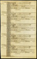 Colonial Notes:Maryland, MD - Uncut Sheet of Five Assembly of Maryland at Annapolis 1733 1Shilling 6 Pence Fr. MD-2 Remainder Notes.. ...