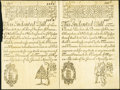 Colonial Notes:New Hampshire, NH - New Hampshire May 20, 1717 Redated 1729 Uncut Face Pair ofNH-37 & NH-38 Reprint Notes from the Original Plate.. ...