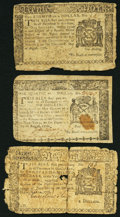 Colonial Notes:New York, NY - Lot of 3 New York Colonial Currency Notes from Three Series.. ... (Total: 3 notes)
