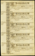 Colonial Notes:Maryland, MD - Uncut Sheet of Five Assembly of Maryland at Annapolis 1733 2Shillings 6 Pence Fr. MD-3 Remainder Notes.. ...