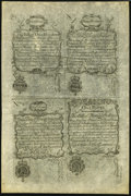 Colonial Notes:New Hampshire, NH - New Hampshire April 1, 1737 Redated Augt. 7, 1740 Uncut FaceSheet of Four Reprint Notes from the Original Plate.. ...