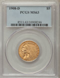 Indian Half Eagles: , 1908-D $5 MS63 PCGS. PCGS Population: (1389/406). NGC Census:(951/492). CDN: $745 Whsle. Bid for problem-free NGC/PCGS MS6...